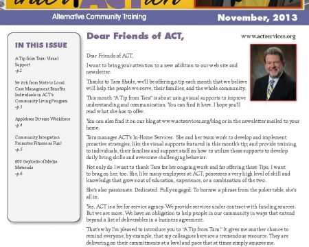 Image of the first page of the November 2013 ACT Newsletter