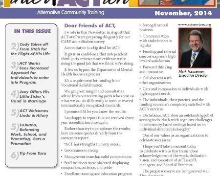 Image of the first page of the November 2014 ACT Newsletter