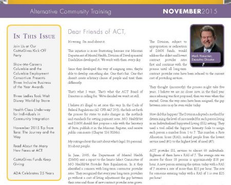 Image of the first page of the November 2015 ACT Newsletter