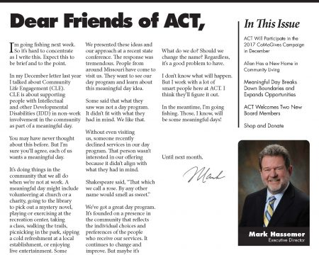 Image of the first page of the November 2017 ACT Newsletter