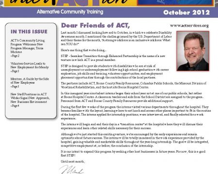 Image of the first page of the October 2012 ACT Newsletter