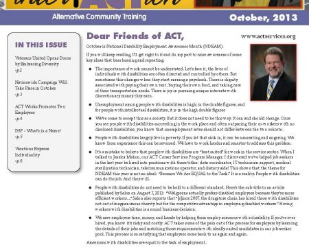 Image of the first page of the October 2013 ACT Newsletter