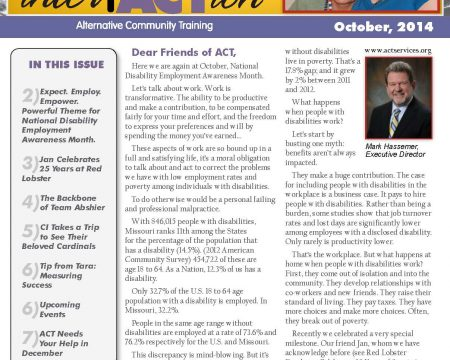 Image of the first page of the October 2014 ACT Newsletter