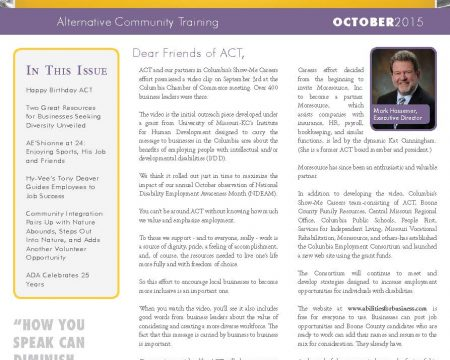 Image of the first page of the October 2015 ACT Newsletter