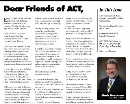 Image of the first page of the October 2017 ACT Newsletter