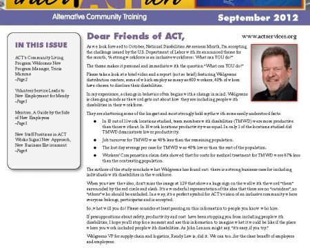 Image of the first page of the September 2012 ACT Newsletter