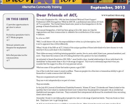 Image of the first page of the September 2013 ACT Newsletter