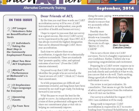 Image of the first page of the September 2014 ACT Newsletter