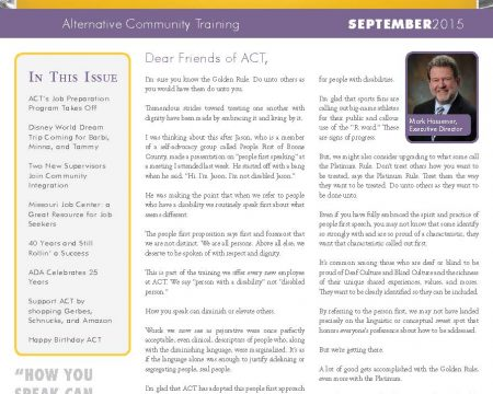 Image of the first page of the September 2015 ACT Newsletter