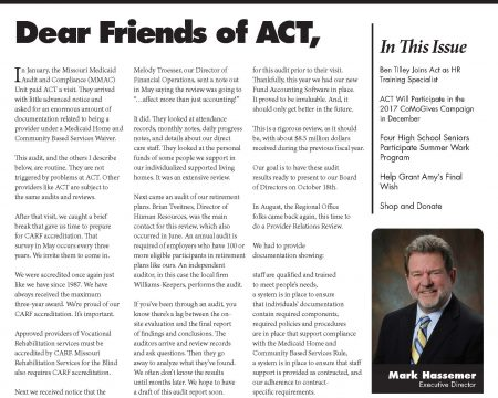 Image of the first page of the September 2017 ACT Newsletter
