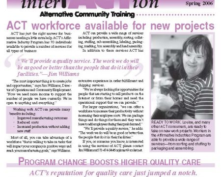Image of the first page of the Spring 2006 ACT Newsletter