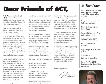 Image of the first page of the Spring 2018 ACT Newsletter