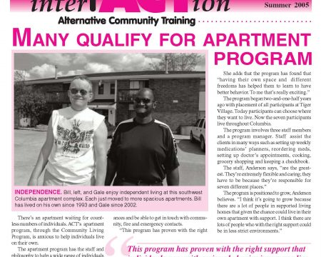 Image of the first page of the Summer 2005 ACT Newsletter