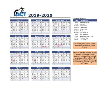 Image of the 2020 Fiscal Year Calendar